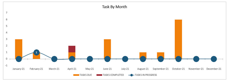 Project Dashboard task-by-month