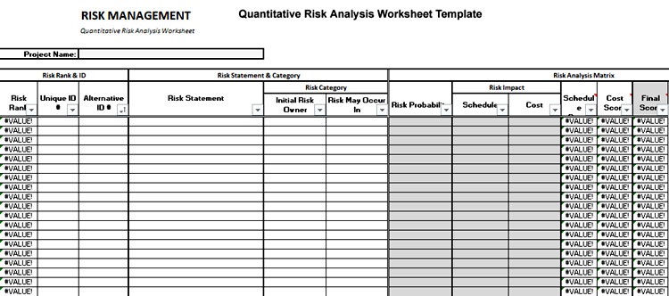 Quantitative Risk Analysis Worksheet Template
