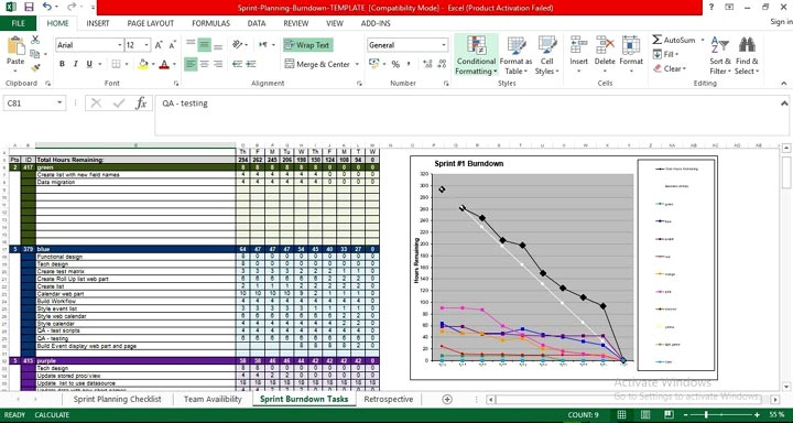 ●Agile Sprint Planning Template Excel