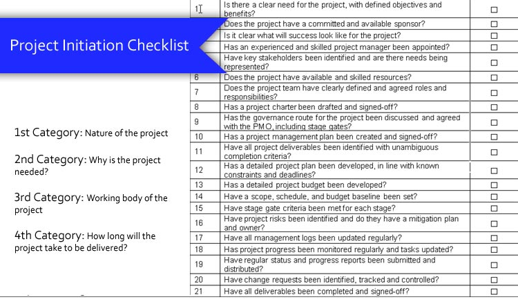 What is Project Initiation Checklist?
