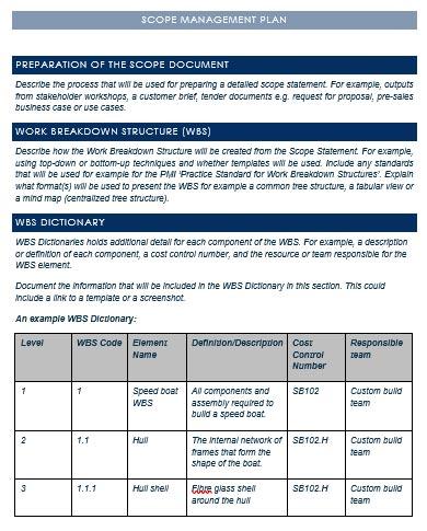 Fig. 4 Project scope management plan sample