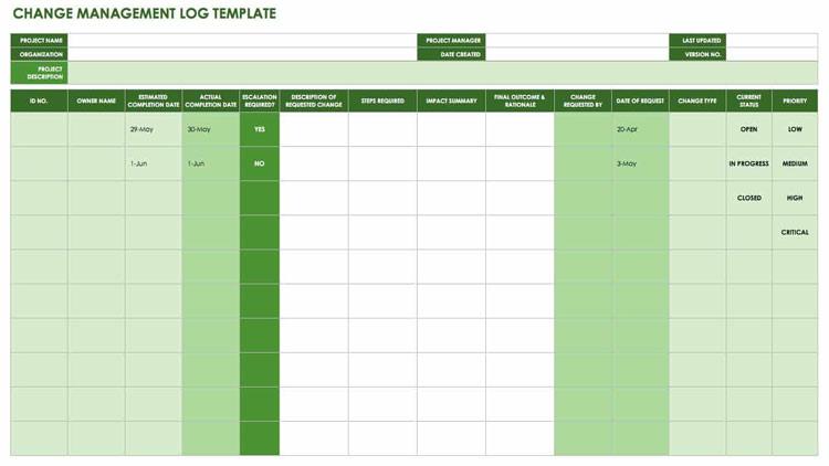 Change-Management-Log-Template
