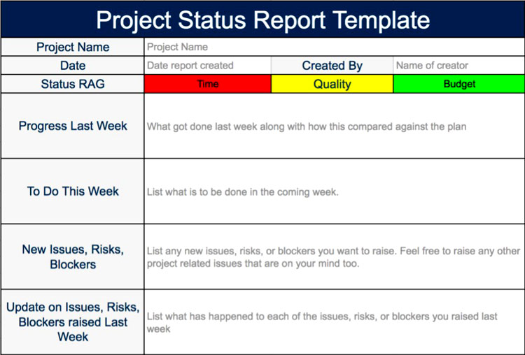 Fig. 1 Project Status Report Template