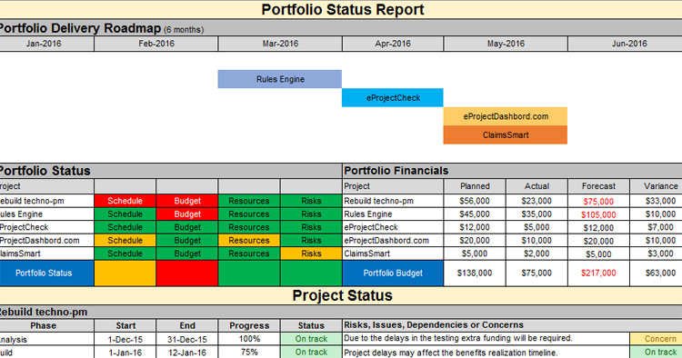 Fig. 2 (a) Multiple Project Status Report